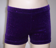 Perfectly priced purple velvet gymnastics and/or dance shorts with fuschia sparkle accent.
