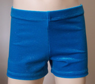 Perfectly priced turquoise velvet gymnastics and/or dance shorts with silver sparkle accent.