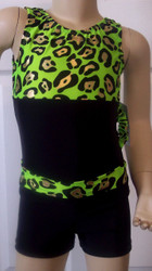 Cute tank style gymnastics and/or dance leotard in a lime panther metallic spandex split with solid black spandex. Coordinating black spandex shorts with lime panther metallic spandex waistband. Free scrunchie as always!