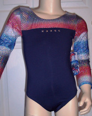 Beautiful long sleeve gymnastics and/or dance leotard in a red/white/blue/silver star spandex split with solid navy spandex. Five silver stars adorn the front to symbolize the FAB FIVE! Available in tank or racer back. Free scrunchie as always!