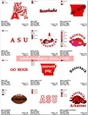 ARKANSAS RAZORBACK HOGS SPORTS EMBROIDERY DESIGNS