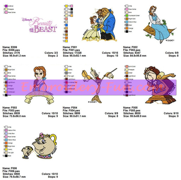 Beauty And The Beast Embroidery Designs Patterns Embroidery Fun