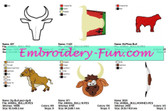 BULLS ANIMALS MACHINE EMBROIDERY DESIGNS