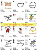 CHOCOLATE SAYINGS MACHINE EMBROIDERY DESIGNS