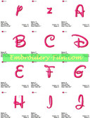 DISNEY FONTS ALPHABETS NUMBERS EMBROIDERY DESIGNS