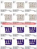 New York Giants Football Stitched & Applique SPORTS LOGO EMBROIDERY DESIGNS