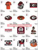 Set of 15 University of Georgia UGA Team Sports Logo Embroidery Designs