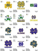 Set of 19 Notre Dame  Team Sports Logo Embroidery Designs