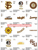 Set of 20 Florida State Seminoles University Team Sports Logo Embroidery Designs