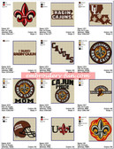 Set of 22 Louisiana State Tigers university Team Sports Logo Embroidery Designs