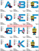 SPONGE BOB ALPHABETS FONTS EMBROIDERY DESIGNS