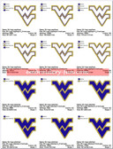 WV WEST VIRGINIA MOUNTAINEERS UNIVERSITY SPORTS LOGO MACHINE EMBROIDERY DESIGNS