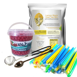 Bubble Tea -   Express Kit (33-40 Servings) - LEMON (Black) Iced Tea with STRAWBERRY Juice Pobbles