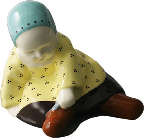 Baby With Spoon Yellow Dress - Berthe Savigny