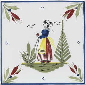 Quimper Mistral Blue Tile - Woman