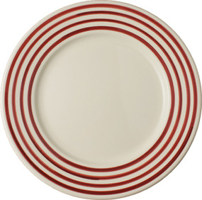 Round Plate - Breton Stripes Red