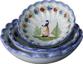 Scalloped Serving Bowls - Mistral Blue