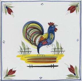 Quimper Mistral Blue Tile - Coq