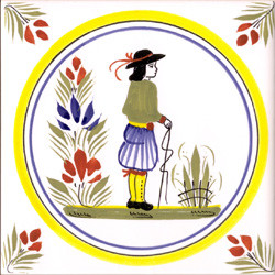 Man - Henriot w/ Yellow Circle Tile Quimper