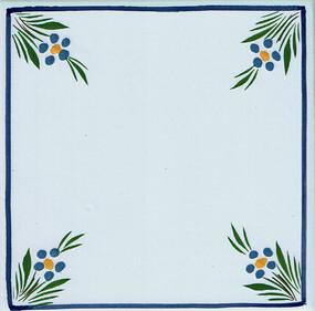 Flowers in Corners - Jardin d'ete Tile