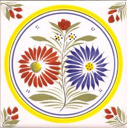 Flower - Henriot w/ Yellow Circle Tile Quimper