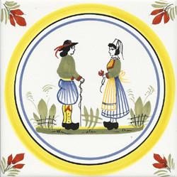 Couple - Henriot w/ Yellow Circle Tile Quimper