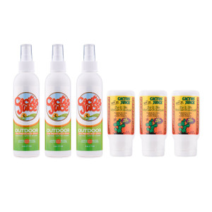 Three 6oz Eco-sprays Three 2.5oz, 20 SPF, sunscreen/repellents