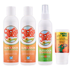 Two 8oz, 20 SPF, sunscreen/repellents One 6oz Eco-spray One 2.5oz, 20 SPF, sunscreen/repellent