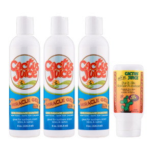 Three 8oz Miracle Gels One 2.5oz, 20 SPF, sunscreen/repellent
