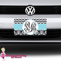 Chevron and Damask Initial License Plate