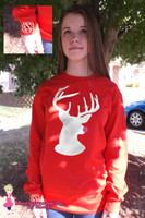YOUTH Pink Glitter Nose Reindeer Long Sleeve Tee