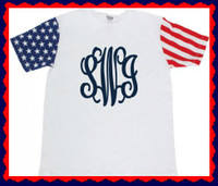 Red, White & Monogram! This shirt is a Must have for summer! Its flagged sleeves features a Patriotic theme! This shirt is NOT available in Small,  Please see the sizing.