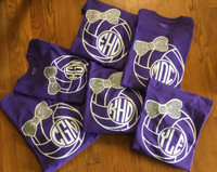 Show off your love for volleyball with our stylish long sleeve volleyball glittered bow tees. Choose your shirt color, volleyball color and glitter bow color. Take it up a notch and personalize it with your initials from our selected fonts and colors. See pictures below.  PLEASE NOTE ONLY THE CIRCLE FONT  IS USED    Please allow up to 7-14 business days  During sales items may take up to 7-21 buisness days