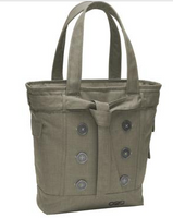 """Large metal buttons give this feminine tote a classy look, while padded tech compartments make it perfect for work or school.  T/C 900D two-tone cotton/poly Top-entry padded laptop compartment Padded tablet/e-reader sleeve Three side flap pockets Fully padded base to protect laptop Large zippered interior compartment Two interior elastic side pockets for cords and beverage storage Interior zippered valuables pocket Removable decorative belt Easy-access organization panel with zippered pocket Padded grab handles Laptop sleeve: 14.5""""h x 10.5""""w x 1""""d; fits most 15"""" laptops Dimensions: 15""""h x 16.5""""w x 4""""d Capacity: 1,000 cu.in./16L Weight: 1.6 lbs./0.62kg FREE Monogramming on back flap"""
