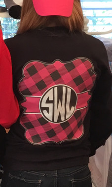 Our Exclusive Full Color Plaid Long Sleeve Tees that of course show off your monogram!  You will love the soft comfort of this 100% soft spun cotton tee that comes in many great colors!  And you have so many colors of plaid to choose from!  Only available at Monogramming By Sherri!
