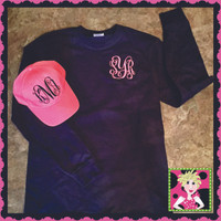 Our soft and comfortable Ladies fit long sleeve tee and with matching hat! Huge Sale going on while the owners are at Market this week!  Sale begins now but ends Wednesday at Midnight so don't miss this sale!  Each piece is monogrammed (with thread) and what a great deal!  Think ahead for Christmas because this sale will not happen again!!