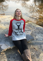 Our extremely soft and comfortable 3/4 raglan Tee is one of our best sellers! And combine our favorite Merry Little Christmas along with our big buck you will be the Christmas Spirit statement!  The shirts are a full unisex tee so it is not fitted!