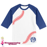 Baseball Tee with Bottom Left Monogram (Royal Blue and White)
