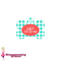 Personalized Mint Gingham Bone Pet Tag