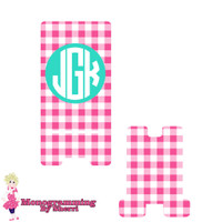 Pink Gingham Personalized Phone Stand