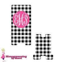 Black Gingham Personalized Phone Stand