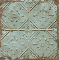 Tin Ceiling Teal Distressed Tiles Wallpaper