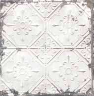 Tin Ceiling White Distressed Tiles Wallpaper