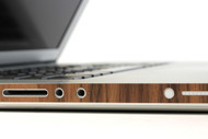 Macbook with side wraps in walnut