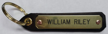 Leather Key Tag with Engraved Name Plate