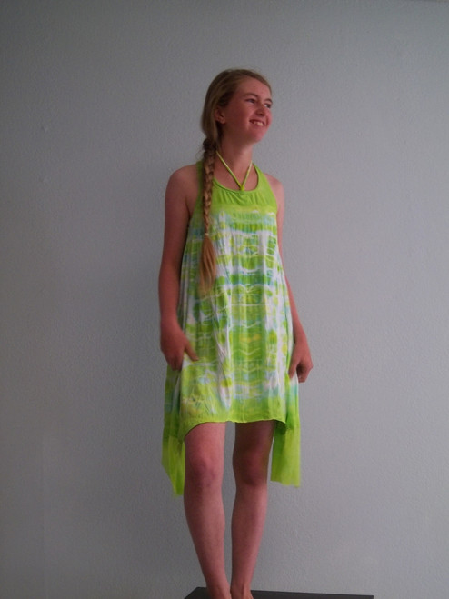 Girls  trapeze dress with pockets- bamboo lime