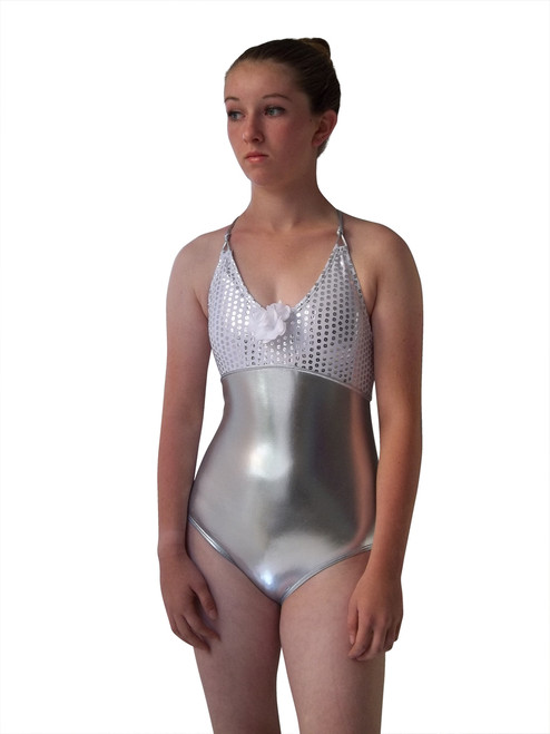 Girls Elizabeth Shimmer  one piece -Silver Shimmer