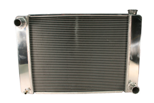 5421928 - GM Racing Radiator, Polished End Tanks and Top Cover, Multiple Mounting Bungs, -20 AN Hose Adapters, 19in x 28in