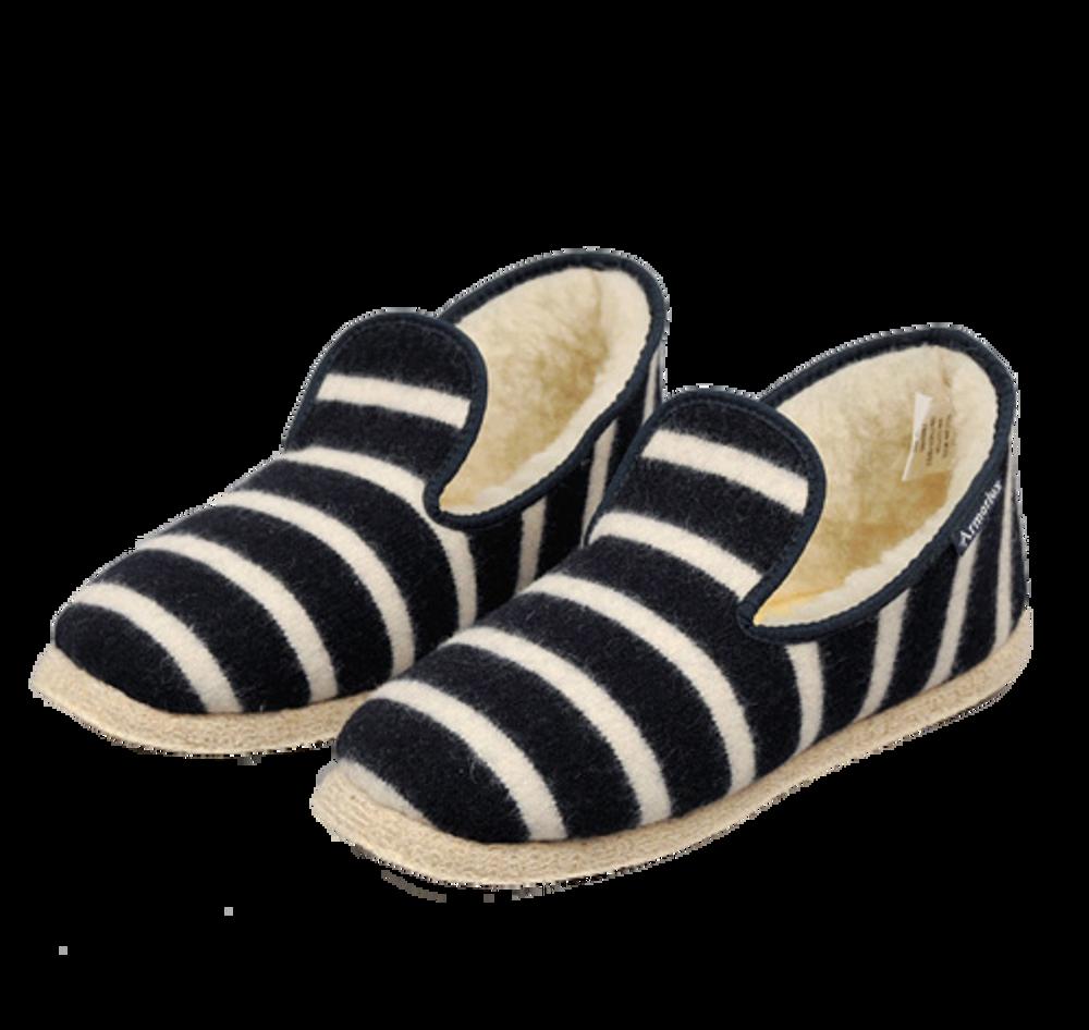 Hand Made Wool Slippers - Navy / Nature Stripe