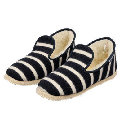 Hand Made Wool Slippers - Navy / Nature Stripe